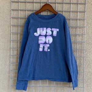 Girl's NIKE Lavender Letters Long Sleeves T-Shirt